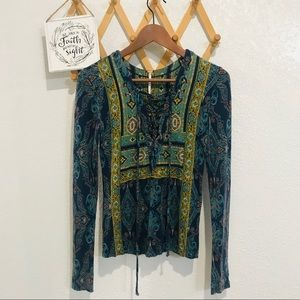 Free People Multicolored Crisscrossed Front Top XS